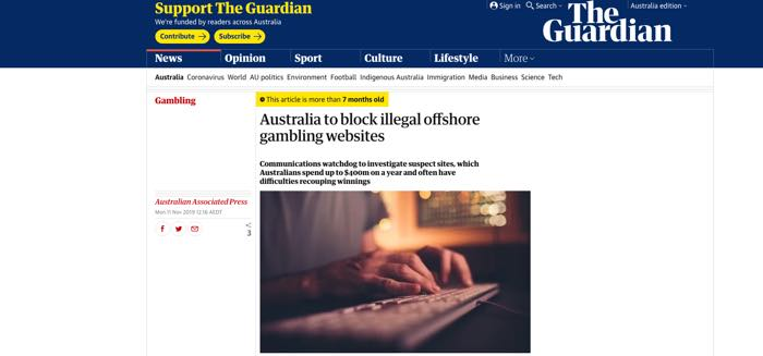 Australia to block illegal offshore gambling websites