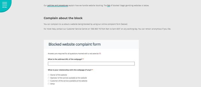 Blocked website complaint form