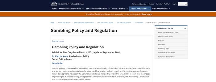 Gambling Policy and Regulation