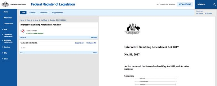 Interactive Gambling Amendment Act 2017
